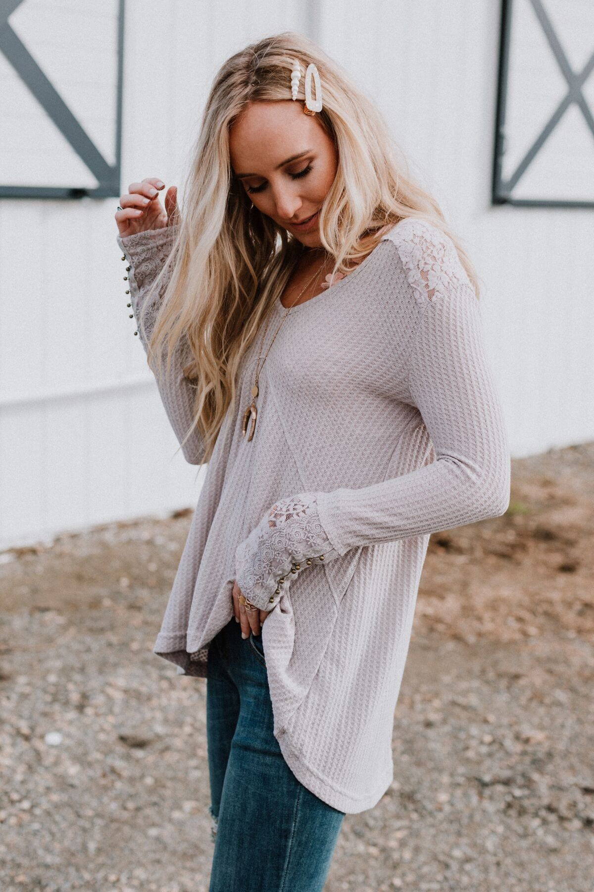 Image of Alaina Lace Top - Gray