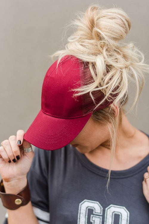 Messy Bun Baseball Hat - Burgundy Mesh