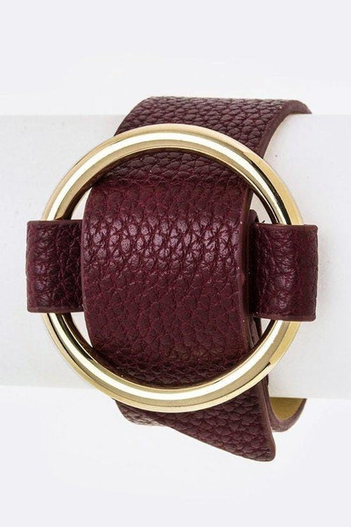 Golden Circle Wrap Cuff - Burgundy