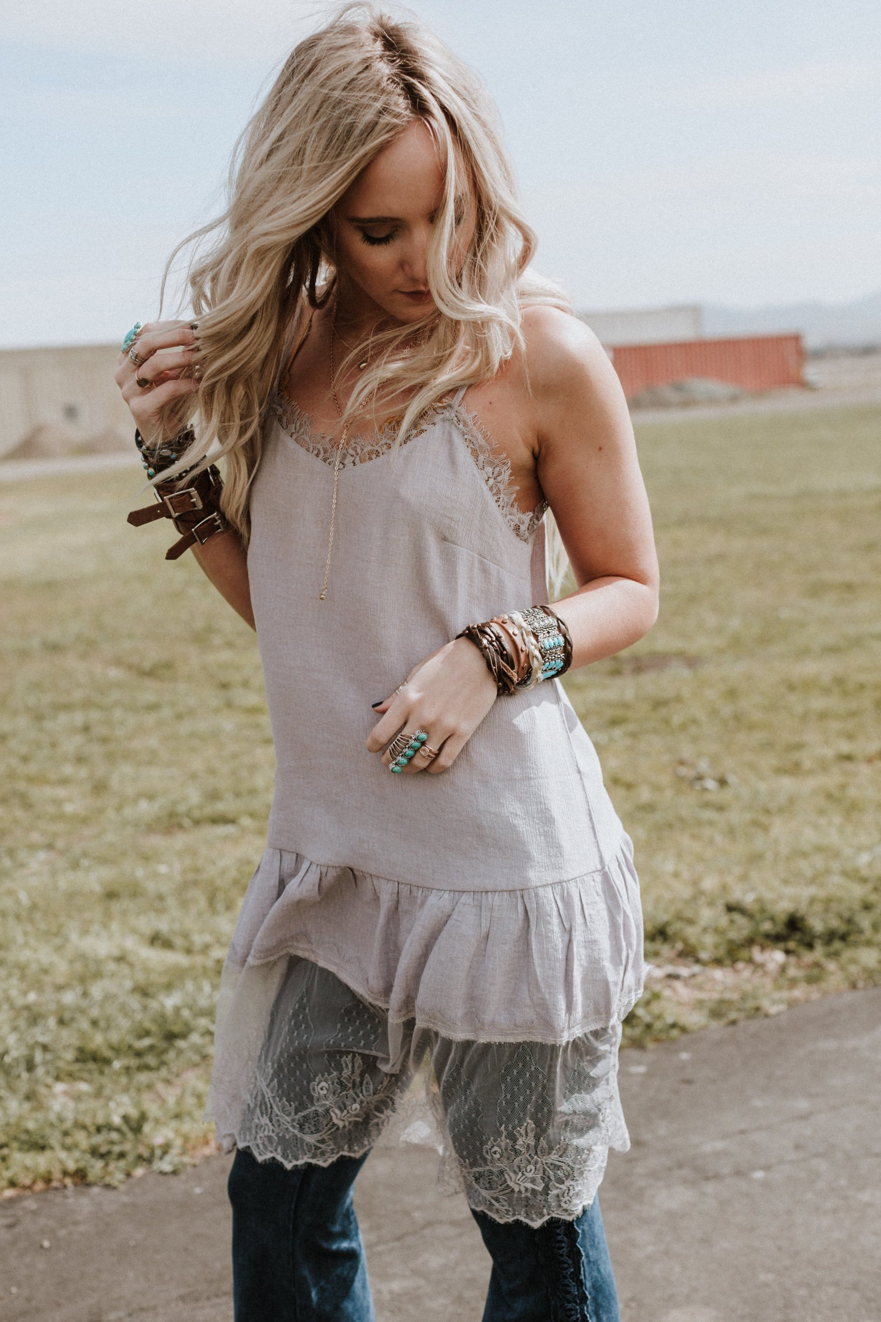Ruffles + Lace Slip Dress