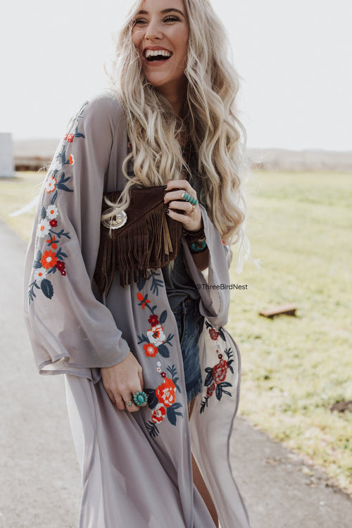 Cloud Dancer Embroidered Duster