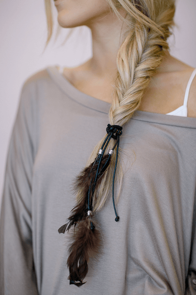Feather Hair Accessories Bohemian Women's Hair Ties with Leather Knots, Charms and Dyed Feathers  brown
