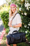 Leather Weekender Diffle Bag Oversized in Black on model