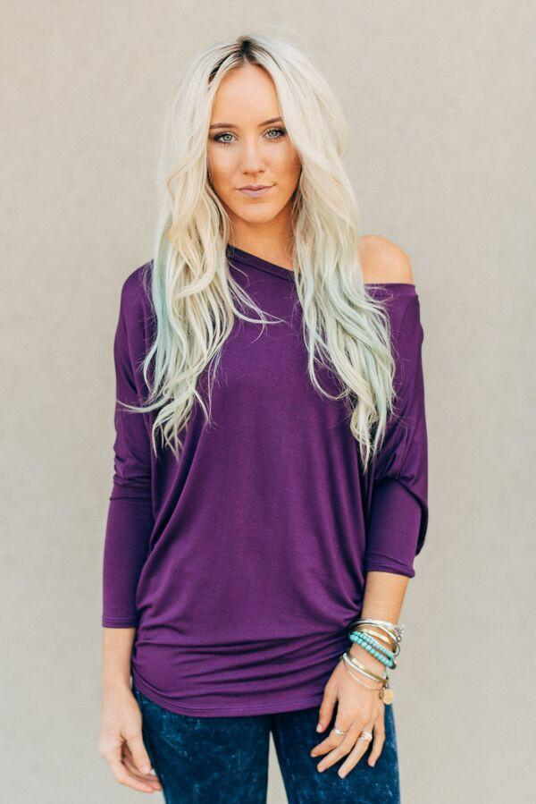 Plain + Simple Plum Dolman-Shirts-Affordable Online Boutique | Cute + Trendy Women's Clothes - 1