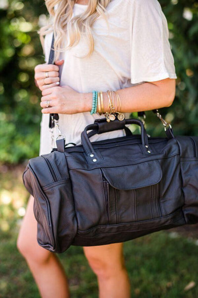 Leather Weekender Duffle Bag Oversized in Black