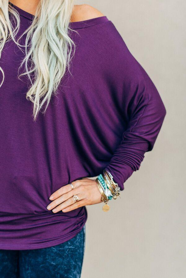 Plain + Simple Plum Dolman-Shirts-Affordable Online Boutique | Cute + Trendy Women's Clothes - 2