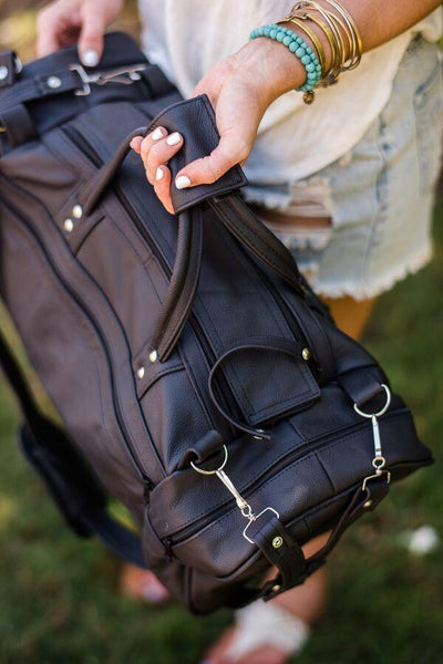 Leather Weekender Duffle Bag Oversized in Black detail images