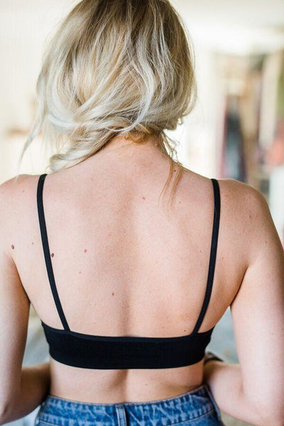 black open back bralette