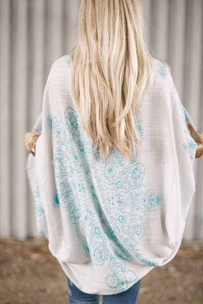 Mint Paisley Bandana Kimono-Kimono-Affordable Online Boutique | Cute + Trendy Women's Clothes - 2