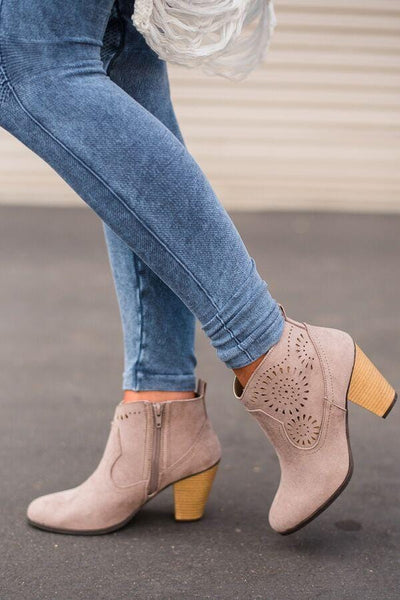 South Bound Taupe Suede Booties