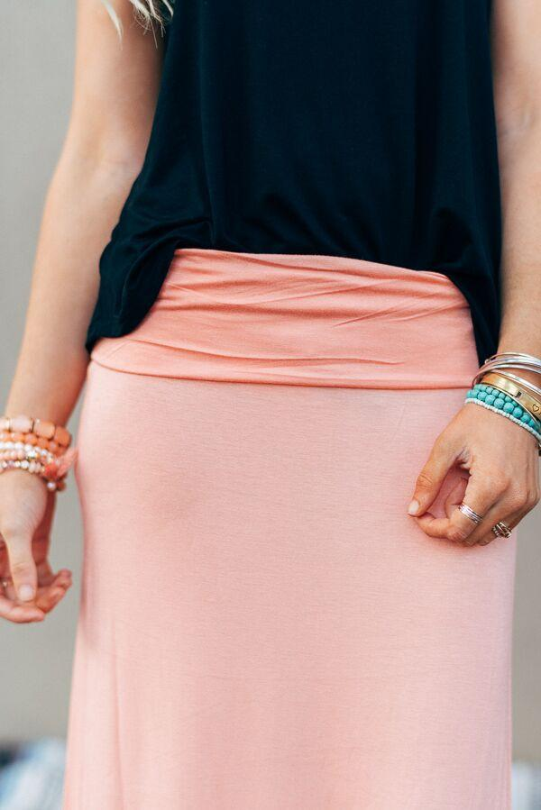 Great Lengths Peach Maxi Skirt-Skirts-Affordable Online Boutique | Cute + Trendy Women's Clothes - 2