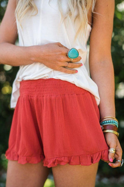 Smocked Red Ruffle Shorts
