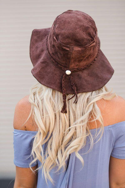 Back Brown Sueded Floppy Leather Hat