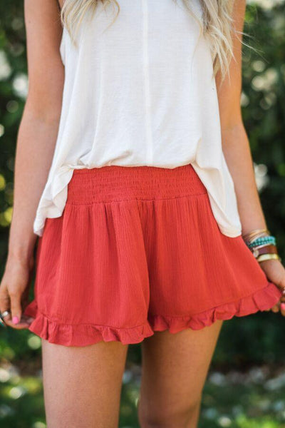Ruffle Flair Smocked Waist Ruffle Shorts in Red