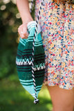 Close Up of Plaza Garibaldi Mexican Blanket Tote Bags Bohemian Purses from Three Bird Nest