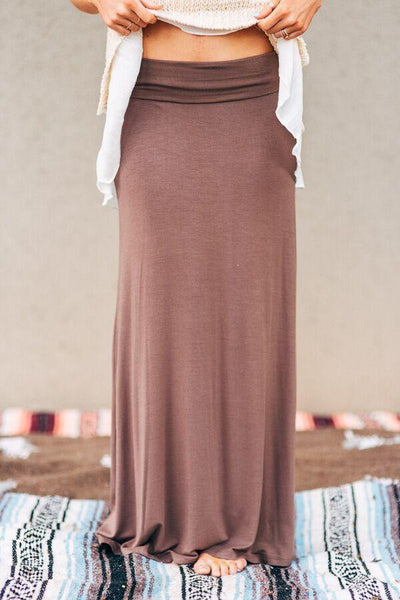Great Lengths Mocha Maxi Skirt-Skirts-Affordable Online Boutique | Cute + Trendy Women's Clothes - 1