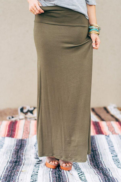 Long Jersey Olive Maxi Skirt-Skirts-Affordable Online Boutique | Cute + Trendy Women's Clothes - 1