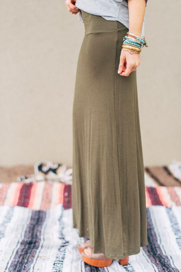 Long Jersey Olive Maxi Skirt-Skirts-Affordable Online Boutique | Cute + Trendy Women's Clothes - 2