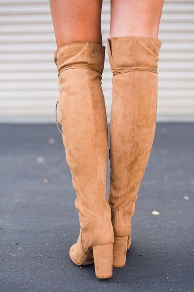 Laced Up Over the Knee Boots in Tan back