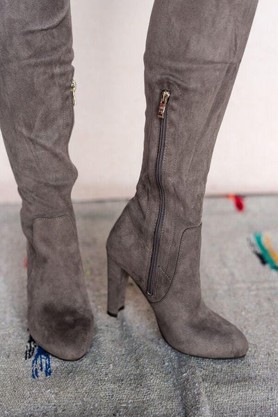 Going Out Over The Knee Boots In Gray
