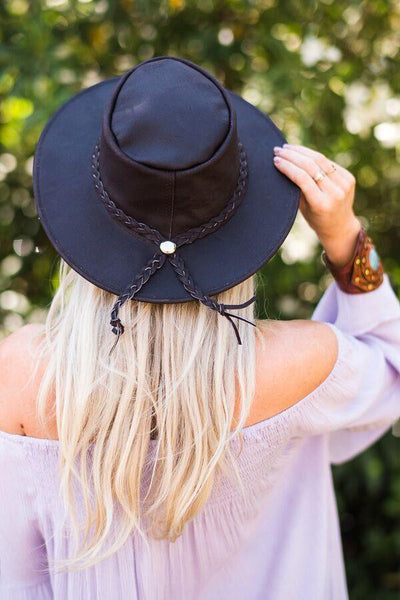Braided leather brimmed rancher style hat from three bird nest