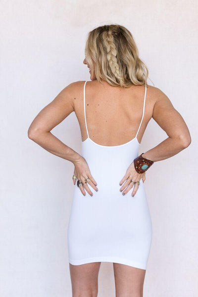 Seamless Camisole Slip Dress In White