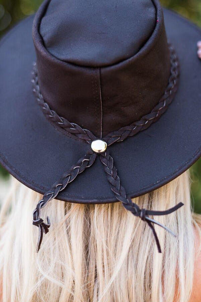 Concho detail picture Braided leather brimmed rancher style hat from three bird nest