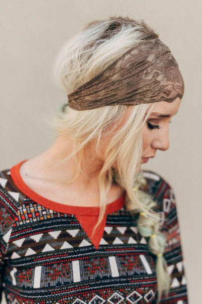 Wide Brown Lace Head-wrap-Headbands-Affordable Online Boutique | Cute + Trendy Women's Clothes - 1