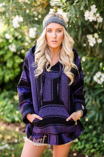 Baja Hoodie Drug Rug Pullover Sweatshirt in Dark COlors