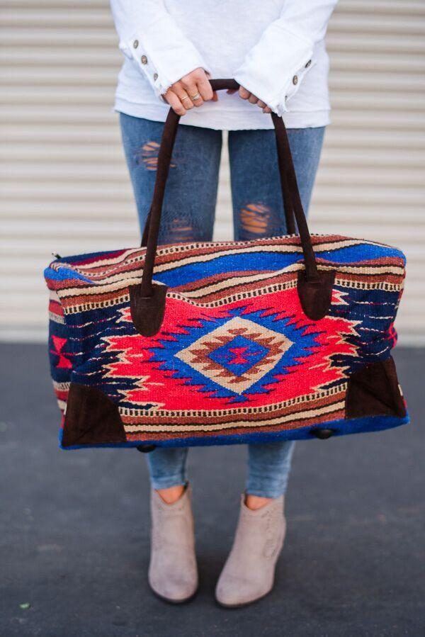 Carpet Boho Leather Weekender Southwestern Weekender Duffle Bag