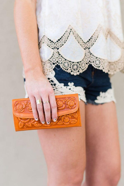 Bohemian Leather Wallet Image of Tan Brown Tooled Handmade Leather Wallets