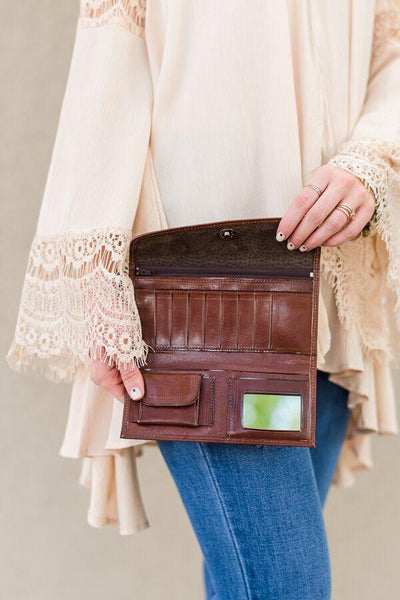 Bohemian Leather Wallet Image of Tan Brown Tooled Handmade Leather Wallets Dark Brown Image