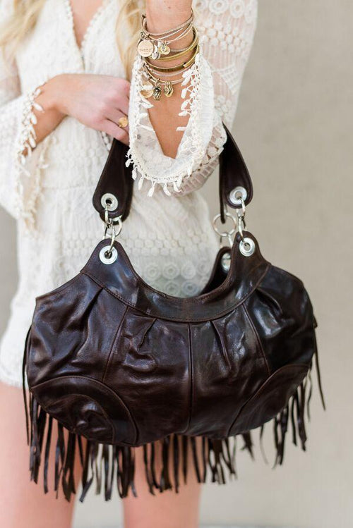 Western Fringe Boho Handbag - Genuine Leather Purses from Three Bird Nest