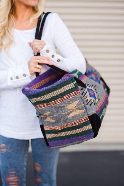 Southwestern Carpet Weekender Duffle Bag close up