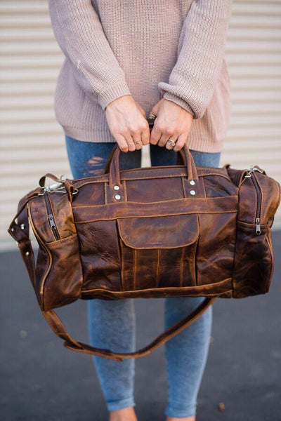 Weekend Trip Leather Oversized Duffle Bag