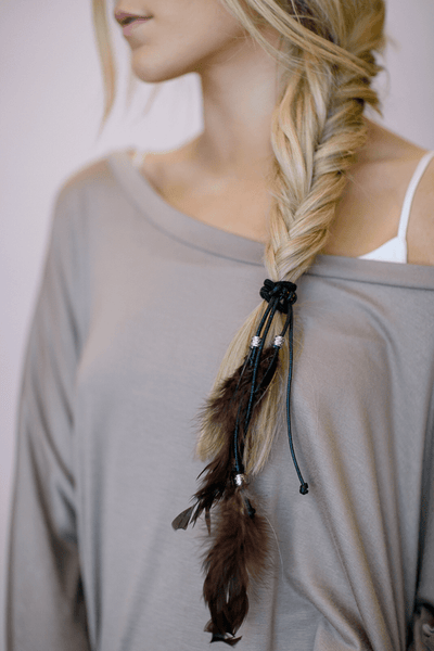 Feather Hair Accessories Bohemian Women's Hair Ties with Leather Knots, Charms and Dyed Feathers