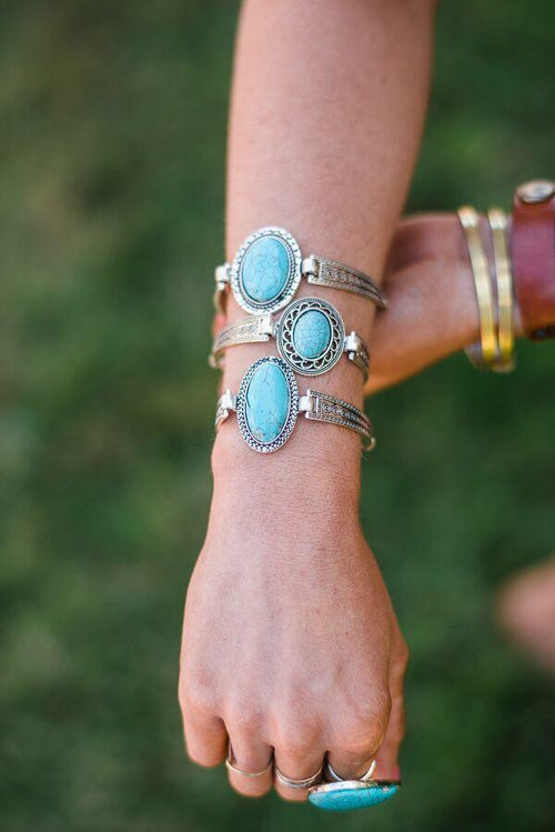 Western silver bracelets shown on model - Western Turquoise Etched Bracelet
