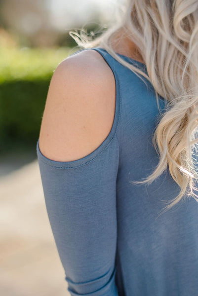 The Lovebird Cold Shoulder Top In Gray