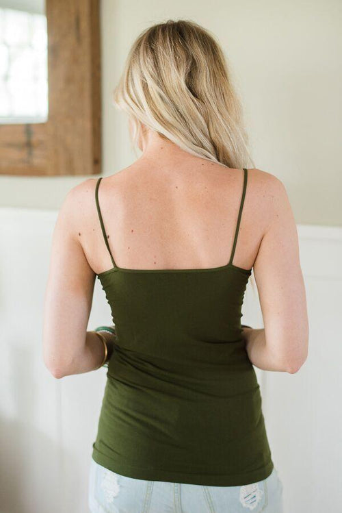 Seamless Camisole Slip Dress In Dark Olive