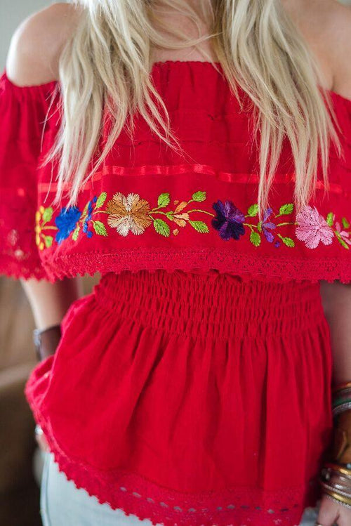 Red Mexicali Off The Shoulder Blouse