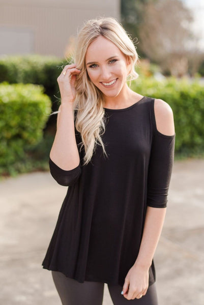 The Lovebird Cold Shoulder Top In Black