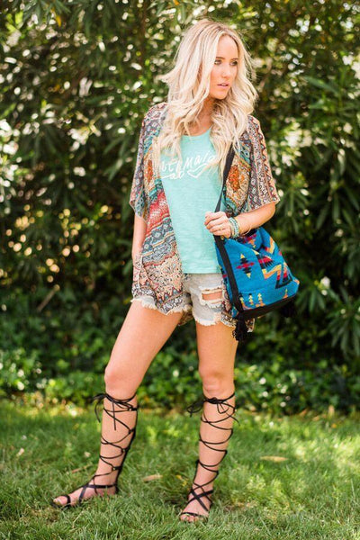 Outfit Ideas for Bohemian Festivals Picture of Gladiator Sandals and Kimono Poncho