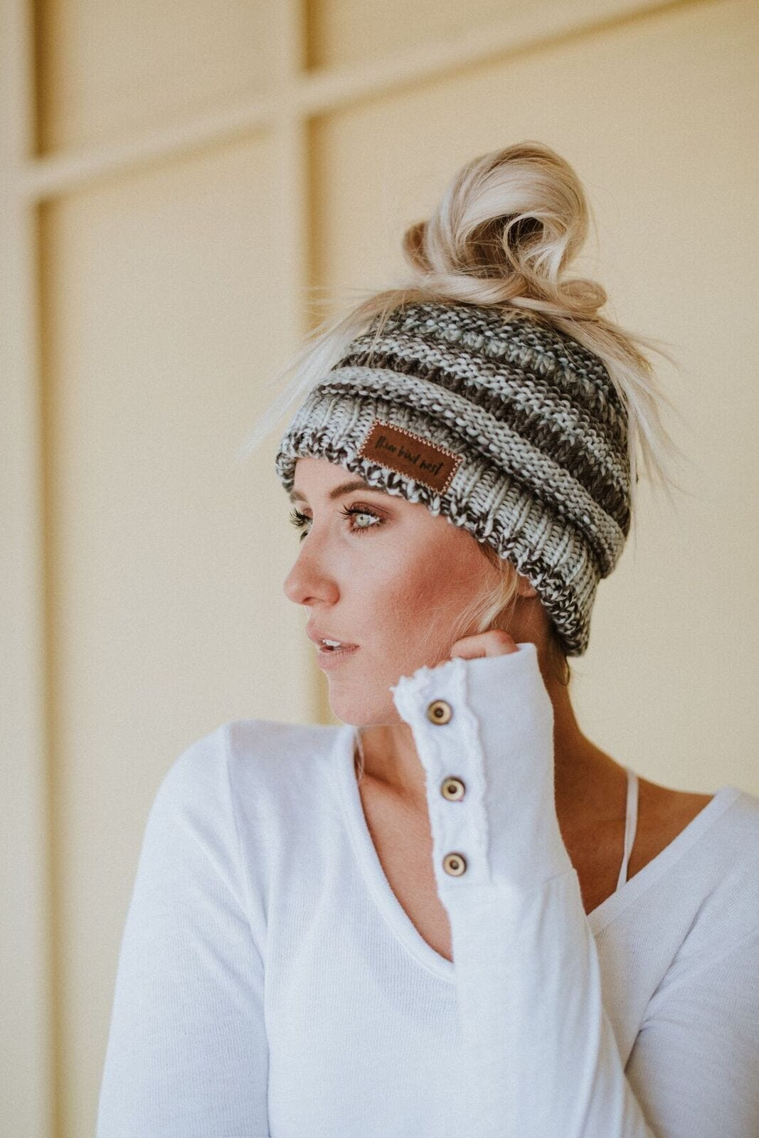46df03909 Messy Bun Knitted Beanie - Gray Multi
