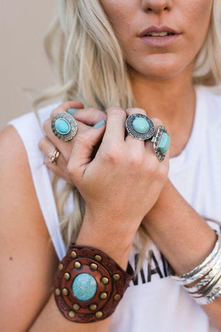 Boho Turquoise Leather Cuff