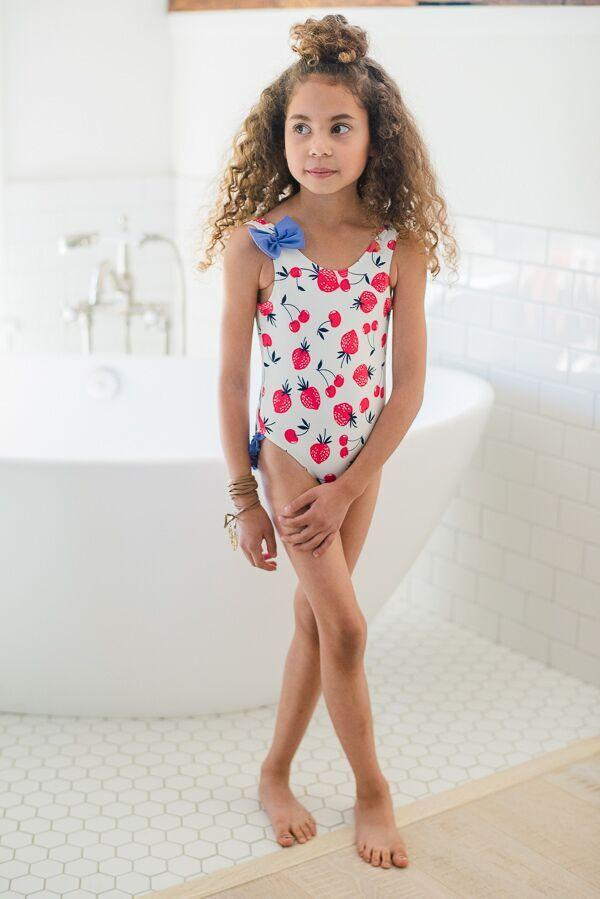 Kids Strawberry Ruffle Swimsuit