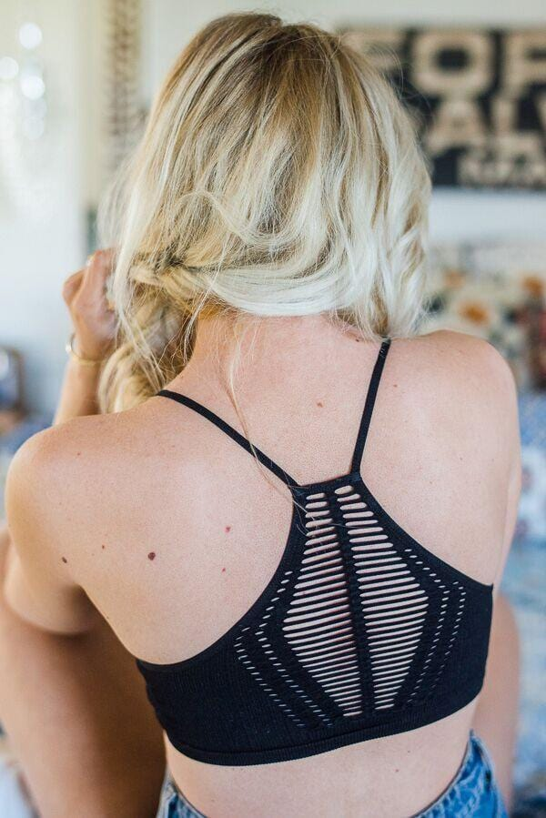 Open Cut Racerback Bralettes - Gray