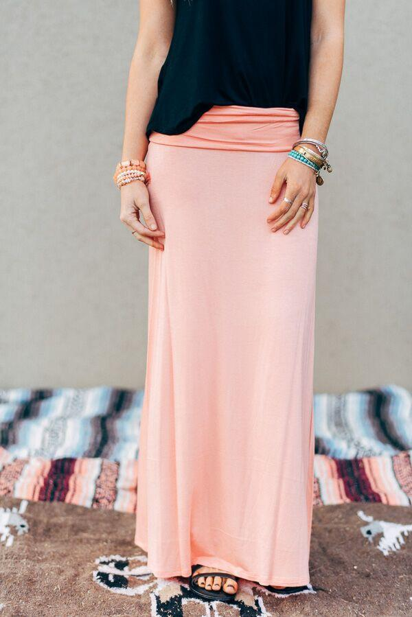 Great Lengths Peach Maxi Skirt-Skirts-Affordable Online Boutique | Cute + Trendy Women's Clothes - 1