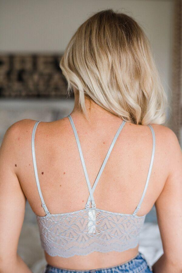 Lacey Y Strap Bralette In Gray