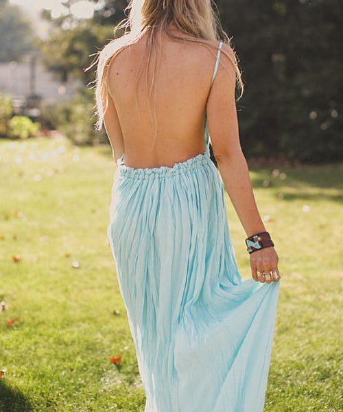 Mint open back maxi dress with crochet detail Open Back