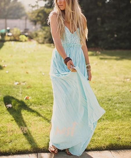 Mint open back maxi dress with crochet detail Mint open back maxi dress with crochet detail showing front high waisted skirt